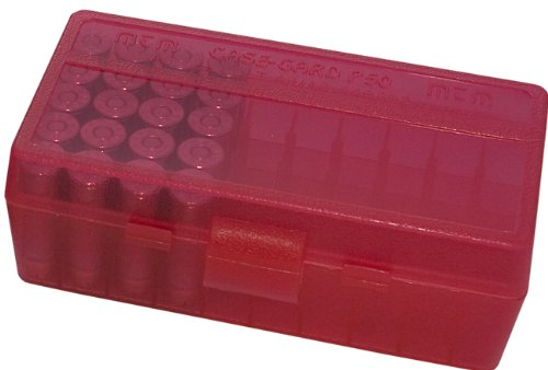 MTM 50 Round Flip-Top Ammo Box 38 357 Cal (Clear Red)