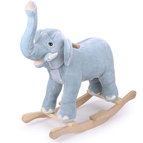 LALAWO Children's leisure chair Children's Toy Wood Horse Horse Rocking Horse Music Animal Rocking Chair Rocking Horse Cute Cartoon Animals Real Security (Color : Elephant)