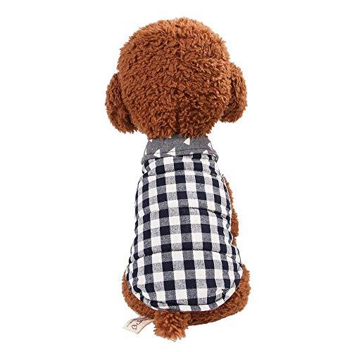 Haustier Kariertes Hemd Mantel britische Weste Mantelkleidung pet Frühjahr Herbst Winter warme Kleidung, Größe: XL (Pink) (Color : Gray Blue)