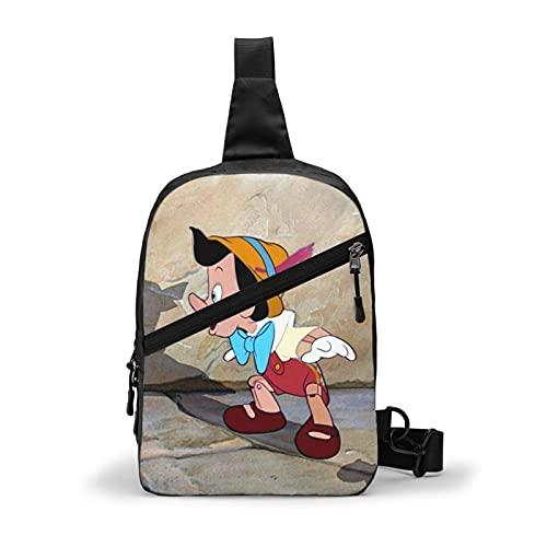 CartoonPinocchio Sling Bag para hombres y mujeres viajes ks pecho Backk Crossbody Bolsas de hombro Bolsas de hombro Deporte Senderismo Ciclismo Casual Ligero Daypack