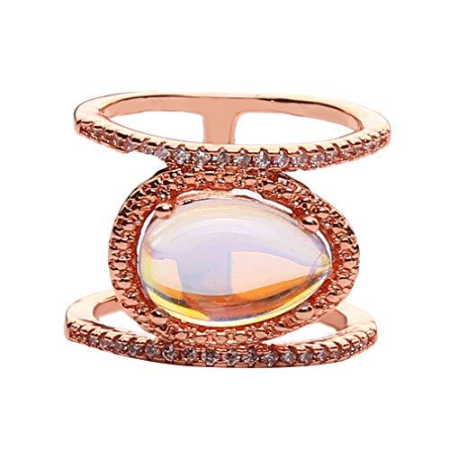 Pinhan - Anillo de compromiso con piedra lunar artificial para mujer, cobre, Oro rosa 7, 2.1cm