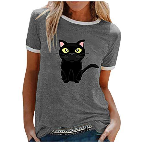 Damen T-Shirt Shirt Rundhals Kurzarm, KIMODO Sunflower Cat Oberteile Hemd Tops Bluse Sommer Frauen O-Ausschnitt Lässiges Slim Stitching Drucken Tee (Grau-B, XXL)