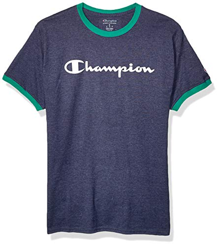 Champion Men's Classic Jersey Graphic Ringer T-Shirt, Imperial Indigo Heather/Kelly Green, X-Large