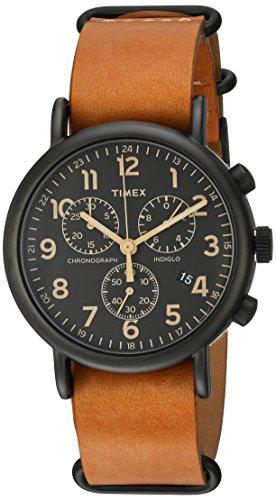 Timex Weekender Chronograph 40 mm Unisex Weekender Chrono Oversize Slip-Thru Strap Uhr One Size Braun/Schwarz
