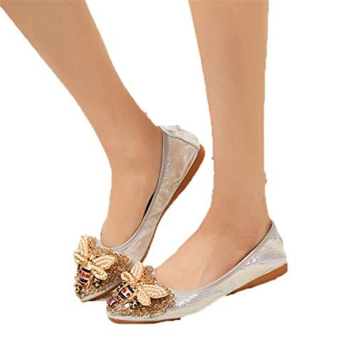 Light Plus Size Designer Crystal Woman Flat Shoes Elegant Comfortable Lady Fashion Rhinestone Women Soft Bees S Silver