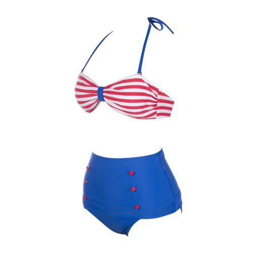 SSITG 2014 Bikini Bandeau dames badmode hoge taille exclusieve vintage push-up bikini in speelse retro swimwear HIGH WAISTED bikini