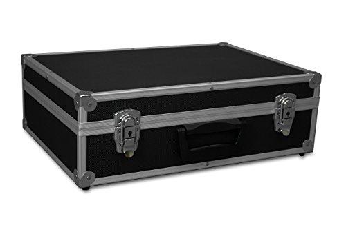 GORANDO® Transport-Koffer in schwarz mit Aluminiumrahmen für Werkzeuge, Kamera, Messgeräte | Schaumstoff-Auskleidung | 10kg belastbar | 440x300x130mm