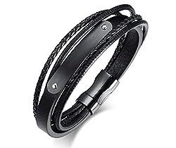 VNOX Herren Edelstahl Echtleder Armband Name personalisiert schwarz ID Tag Wrap Armband 21 cm,kostenlose Gravur