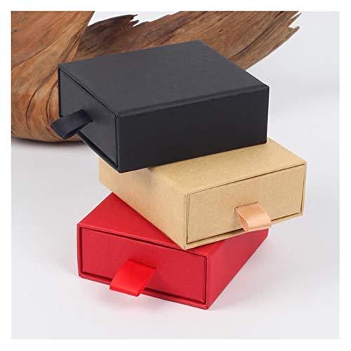 Perfekt 10pcs edle Verpackung Geschenk-Kasten Kraft Papierkassette Karton Halsketten-Ohrringe Verpackung Geschenkbox Schmuckschatulle Hochzeit Pralinenschachtel In Festlaune (Color : Khaki)