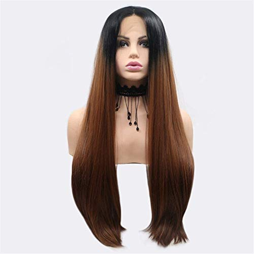 PIAOLIGN Pelucas Pelucas Black-Brown-Gradient Largo Curly Hair Wig Ladies Hecho a Mano Encaje Europeo y Peluca Set en la Peluca Conjuntos de Cabello