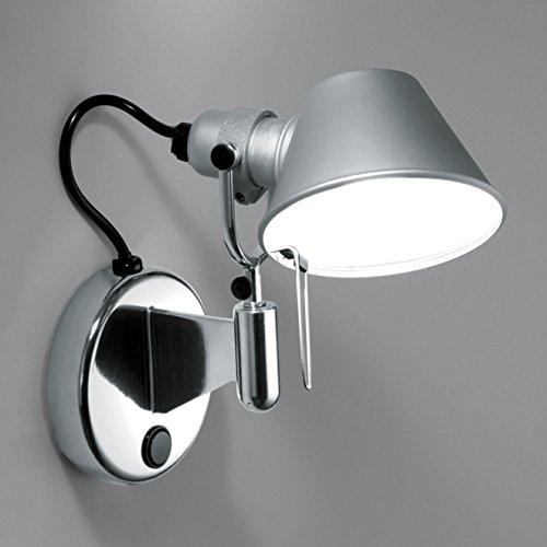 Tolomeo Micro Faretto wandlamp aluminium/geanodiseerd/gepolijst/met schakelaar