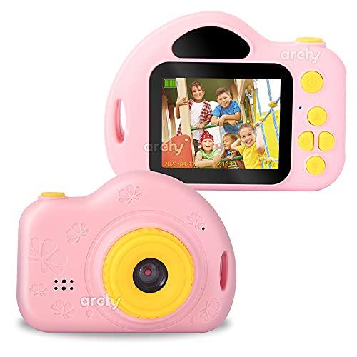 Archy Cámara Digital para niños, Captura Foto y Video en 1080p, con Divertidos Marcos, filtros y 4 Juegos, Correa incluida (CAM07-) (Rosado)