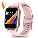 YoYoFit Smart Watch with Heart Rate Monitor, Fitness Watch Temperature Monitor, Fitness Tracker with Step Counter Sleep Monitor, Calorie Counter, IP68 Activity Tracker Pedometer for Women Men Kid Gift