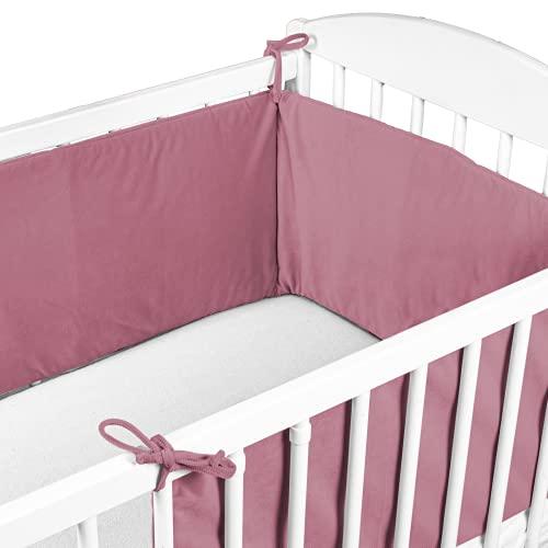 Cojin Protector Cuna Velluto - Chichonera Bebe Cuna 120x60 140x70 cm (Rosa Oscuro, 180 x 30 cm - Velvet)