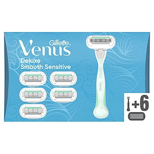 Gillette Venus Deluxe Smooth Sensitive, 6 Lamette di Ricambio (da 5 Lame) per Rasoio Donna, per una Rasatura Fluida Profonda Duratura, con Striscia Idratante