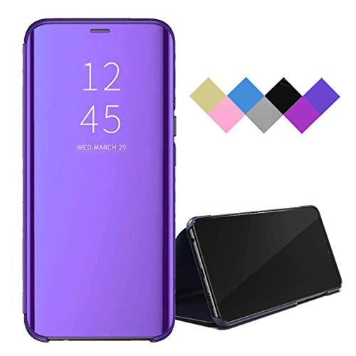 BRAND SET Funda para Xiaomi Redmi 9 Smart Mirror Flip Cover Funda Ultrafina para Teléfono a Prueba de Golpes con Función de Soporte Adecuado Carcasa para Xiaomi Redmi 9-Púrpura