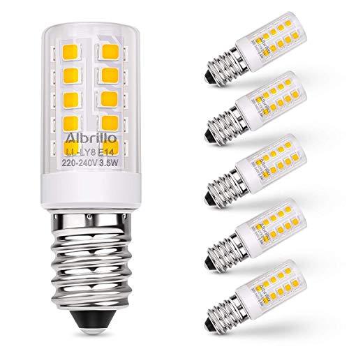 Albrillo E14 LED Lampe Warmweiss 3000K, 3.5W / 330LM Glühbirne Ersatz 35W Halogenlampen, 360° Abstrahlwinkel für Kronleuchter, Wandlampe, Kühlschrank und Dunstabzugshaube, 5er Pack