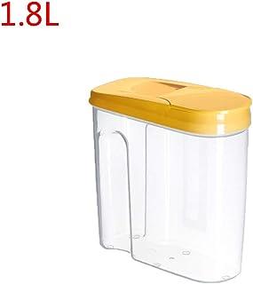 JOYKK 1.8L Cereales Contenedor de Almacenamiento Plástico hermético Cocina Sellado para Alimentos Olla Cereal Grano Frijol Arroz Bocaditos Caja Frasco - Amarillo - S #