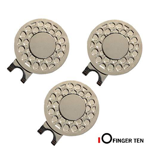 FINGER TEN Golf Ball Marker Hat Clips Magnetisch Set of 3/4/5/6 Stück Geschenk Mütze Clips mit Ballmarker oder nur Cap Clip Anzug Für Herren Damen Kinder (3 Pack-Hat Clips)