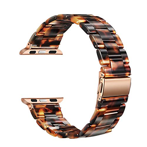 FINTIE Band Compatible with Apple Watch 42mm 44mm, Premium Resin Strap Replacement Wristband Compatible with Apple Watch SE iWatch Series 6 5 4 3 2 1 Sport and Edition, Tortoise-tone