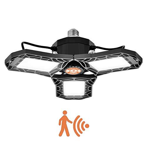 Lámpara Garaje Inductivo LED E27 Bawoo 60W Radar Lámpara Oficina Taller Iluminación LED Sótano Lámpara Techo Luz Almacén Bombillas E27 Ultra Brillante 6000LM 6000K Ajustable 270° Tienda Lámpara Bodega