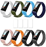 [12-Pack] IMBZBK 8 Colors Straps Bracelet for Xiaomi Mi Band 4C + 4pack Tempered Glass for Xiaomi Mi Band 4C Screen Protector, Colourful Fitness Bracelet Silicone Replacement Straps (Loss Prevention)
