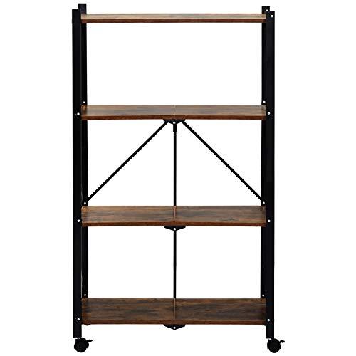 jeerbly Estantería plegable para estantería con ruedas de gran capacidad, de acero resistente, 4 niveles, color marrón