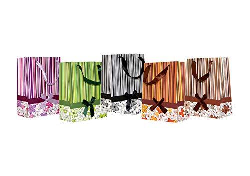 10 Geschenktüten medium Streifen mit Schleifen 28 x 19 x 12 cm Geschenktaschen Geschenkbeutel Taunus Grußkarten Verlag 99-0113