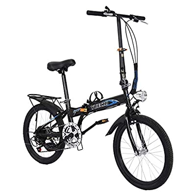 Exercise Bike,Mountain Bike, Leisure Bicycle 20in 7 Speed City Folding High Tensile Leisure Lightweight Aluminum Mini Compact Bike Urban Commuters Outdoor Bikes for Men Women (Black)