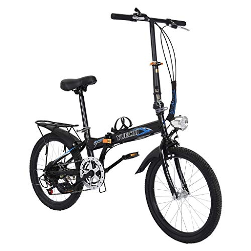 【US Spot】 20'' Folding Bike, 7-Speed Lightweight City Bike, Protable Steel V Brake Compact Suspension Foldable Bicycle, City Commuter Bike for Student Office Worker Urban (Black)