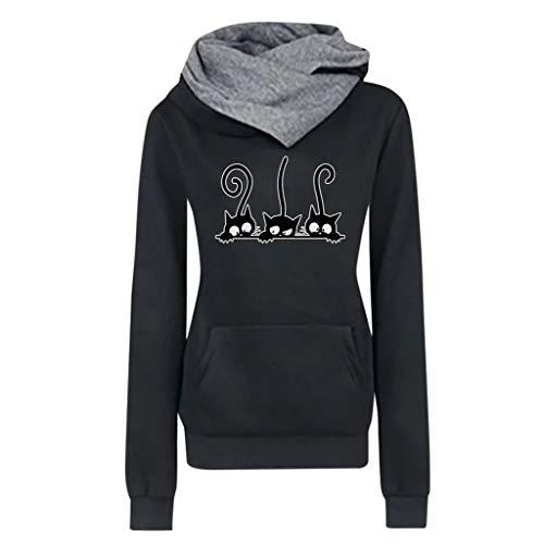 iYmitz Damen Herbst und Winter Beiläufig Hoodies Farbe Sweatshirt Reiner Blusen-Pullover