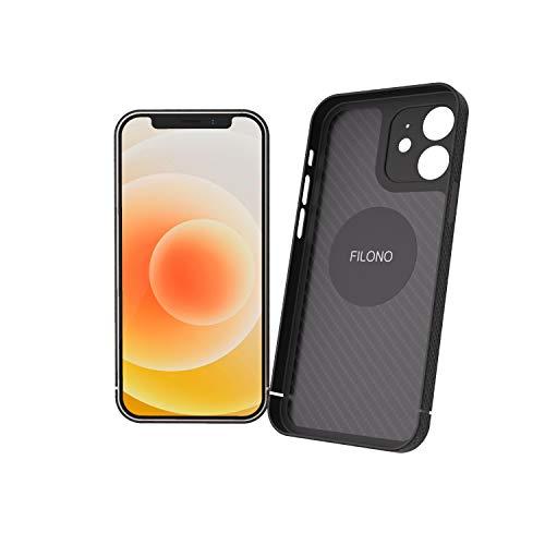 FILONO iPhone 12 Mini Carbon Hülle MagSafe-kompatibel, ultradünn, hochwertig, schwarz-matt-chic