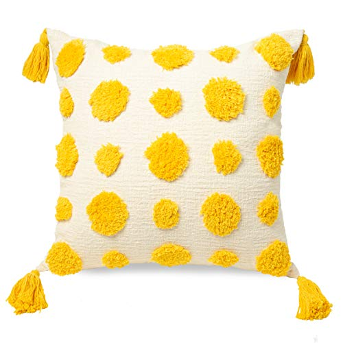 PLWORLD Yellow Boho Tufted Throw Pillow Cover 18x18 Inch, Cotton Pom Poms and Handwoven Tassels Decorative Chenille Textured Cute Cushion Case for Couch, Bed, Sofa, Kids Room, 1 PCS