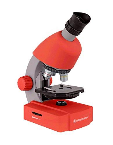 Bresser Junior Einsteiger Mikroskop 40-640x mit Durchlicht LED-Beleuchtung und mit 3 Objektiven, inklusive umfangreichem Zubehör wie Dauerpräparaten, Objektträgern und Mikroskopierbesteck, rot