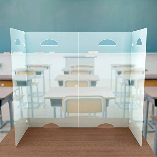 Sneeze Guard Desk Shield PPE - Plastic Divider Screen for Desk, Table or Countertop - Portable Protective Barrier Panel - Best Partition Protector for Classroom or Office