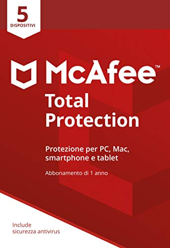 McAfee Total Protection 2020 | 5 Dispositivi | Abbonamento di 1 anno | PC/Mac/Smartphone/Tablet | Password manager incluso | Codice di attivazione via mail
