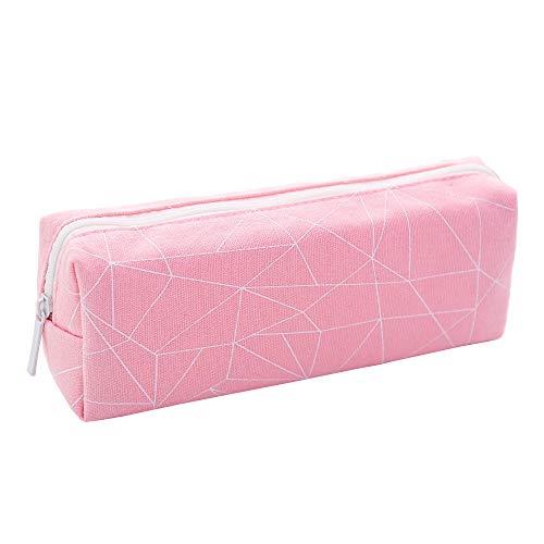 Portable Pencil Case Cute Canvas Pen Bag Desk Stationery Organizer with Zipper Pen Holder for School (Pink)