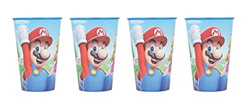 4 vasos infantiles de 260 ml / a elegir: Cars - Patrulla Canina - Los Vengadores - Blaze / Vaso de plástico sin BPA - Regalo para niños (Super Mario)