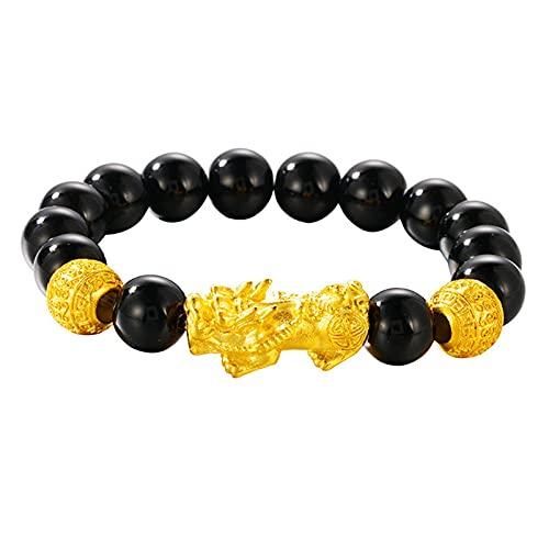 CLEARNICE Amantes Finos Fiesta cumpleaños Boda Regalo Vintage Pixiu Lucky Beads Pulsera de Oro Cuenta de Aproximadamente 10 Mm
