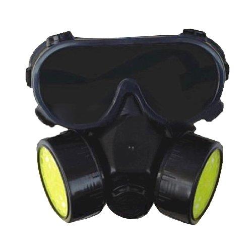 SMARSTAR Maschera respiratoria cartuccia singola/doppia Gas chimica industriale antipolvere vernice + occhiali/occhiali Set, nero