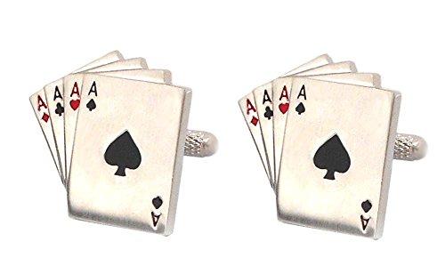 Unbekannt Manschettenknöpfe Spielkartenblatt silbern rot schwarz größeres Format Sale