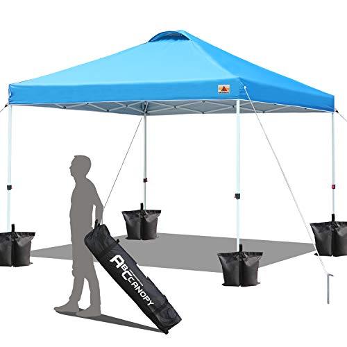 ABCCANOPY Pavillon, Zelt, Pavillon, Gartenpavillon, 3 x sofort, zusammenklappbar, bessere Luftzirkulation, Tasche mit Rollen und 4 Gewichtstaschen (Himmelblau)