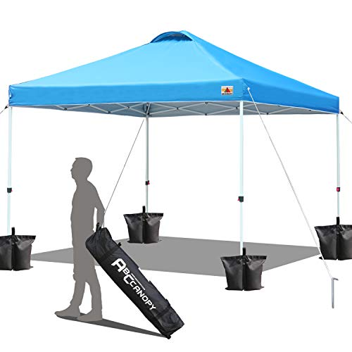 ABCCANOPY Compact 3 x 3 'Easy Pop-Up' Portable Instant Folding Shade Awning Air Circulation Bonification Bag with Wheels and 4 Weight Bags