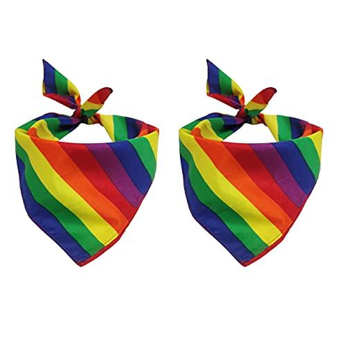 Tinsow 2 Pack Gay Pride Rainbow Bandanas Cotton Handkerchiefs Party Supply Pet Bandana