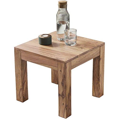 WOHNLING Couchtisch Massiv-Holz Akazie 45 cm breit Wohnzimmer-Tisch Design braun Landhaus-Stil Beistelltisch Natur-Produkt Wohnzimmermöbel Unikat modern Massivholzmöbel Echtholz quadratisch