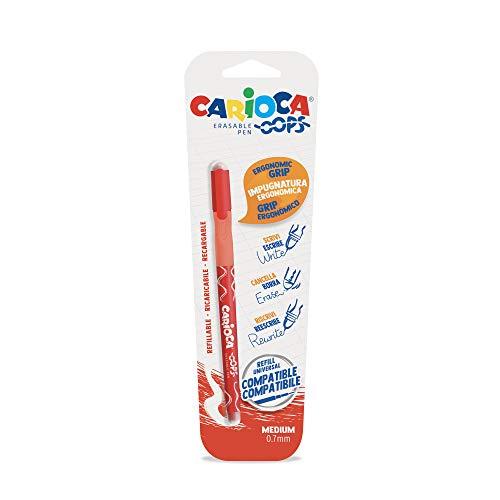 Carioca OOPS – Bolígrafo borrable con tinta termosensible. Contiene 1 bolígrafo. Perfecto para escribir, borrar y volver a escribir. Goma incluída. Trazo 0,7mm. Color Rojo, 43036/03