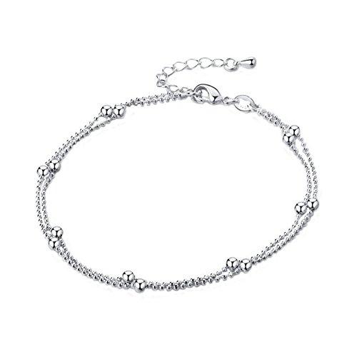 Aiuin caviglia bracciale donna bella signora doppio perline cavigliera catena caviglia braccialetto a piedi nudi sandalo spiaggia piede gioielli anello da piede cavigliera catena