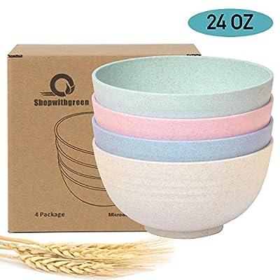 Shopwithgreen Unbreakable Cereal Bowls - 24 OZ Wheat Straw Fiber Lightweight Bowl Sets 4 - Dishwasher & Microwave Safe - for Children,Rice,Soup Bowls