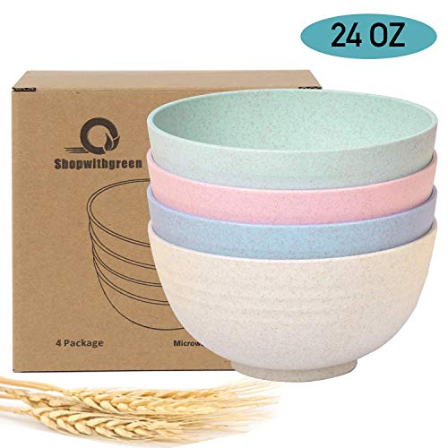 Shopwithgreen Unbreakable Cereal Bowls - 24 OZ Wheat Straw Fiber...