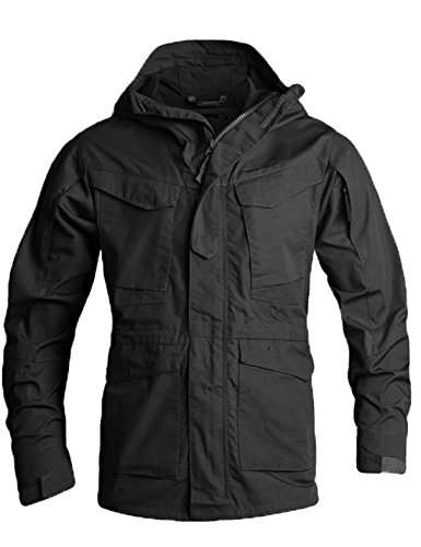 Flygo Men's M-65 Classic Field Jacket Tactical Lightweight Hooded Military Coat (Large, Black)